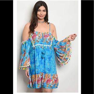 Dresses & Skirts - Plus Size Off Shoulder Bell Sleeve Tunic Dress